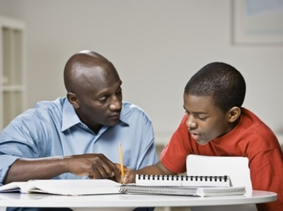 Parents helping with homework