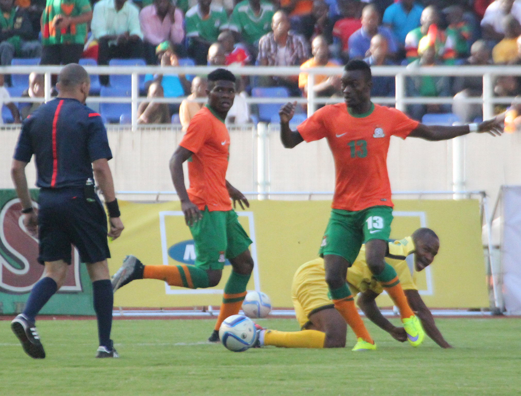 Zambia Defender Aaron Katebe In Action During The  Africa Cup Of Nations Qualifier Against Guinea Bissau At Levy Mwanawasa Stadium In Ndola