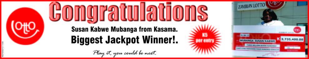 Kasama woman wins K3 7 million lottery – Zambia Daily Mail