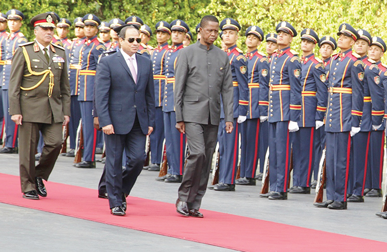 EGYPTIAN President Abdel Fattah Al Sisi And Lungu Inspect A Guard Of Honour At Heliopolis In Cairo On Tuesday PICTURE CHARLES BANDA ZANIS
